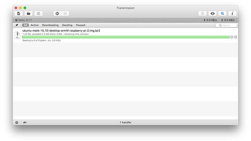 Transmission torrent client